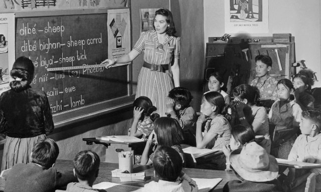 Teaching and learning in a typical 19th century classroom