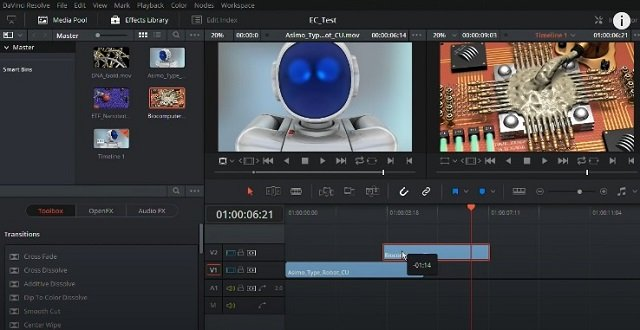 DaVinci Resolve video-editing software tool