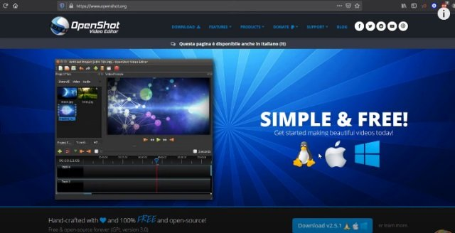 Openshot video editor software program