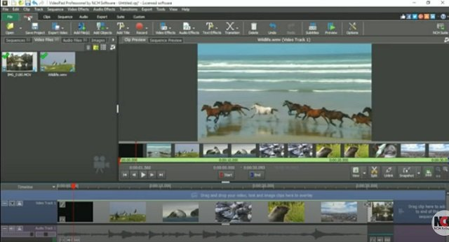 Videopad video-editing application software tool